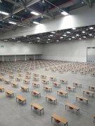 韩国大邱2日举行大规模室内考试。